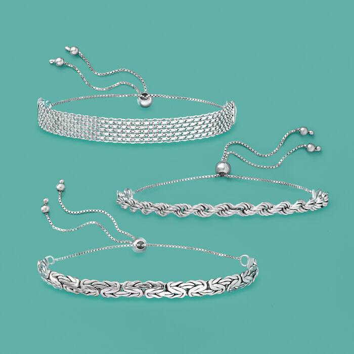 Sterling Silver Jewelry Set: Multi-Link Bolo Bracelets