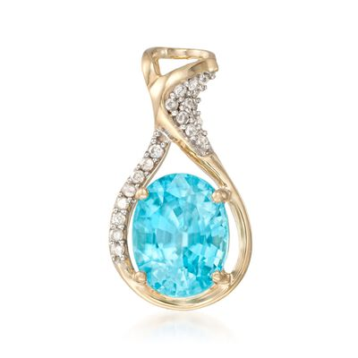 3.60 Carat Blue Zircon Oval Pendant with Diamond Accents in 14kt Gold, , default