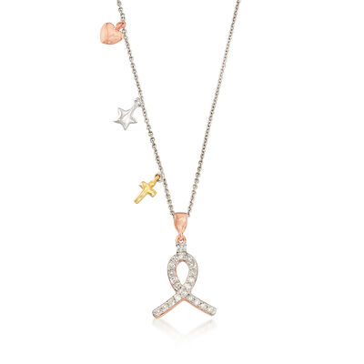 .25 ct. t.w. Diamond Ribbon Charm Pendant Necklace in 14kt Tri-Colored Gold Over Sterling, , default