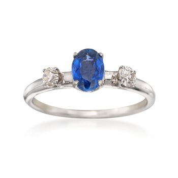 C. 1990 Vintage .85 Carat Sapphire and .25 ct. t.w. Diamond Ring in 14kt White Gold. Size 7, , default