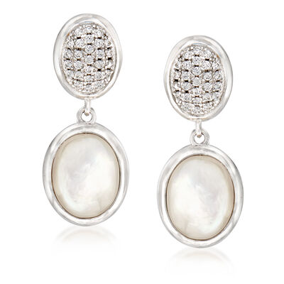Mother-Of-Pearl and .25 ct. t.w. CZ Drop Earrings in Sterling Silver, , default