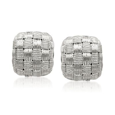 Sterling Silver Basketweave Square Dome Earrings, , default