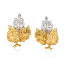 C. 1980 Vintage .80 ct. t.w. Diamond Leaf Earrings in 18kt Yellow Gold, , default