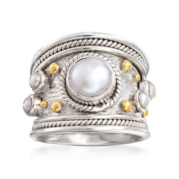 3mm and 8mm Cultured Pearl Wide Roped Ring in Two-Tone Sterling Silver . Size 5, , default