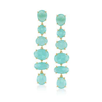 Green Chalcedony Linear Drop Earrings in 18kt Gold Over Sterling , , default