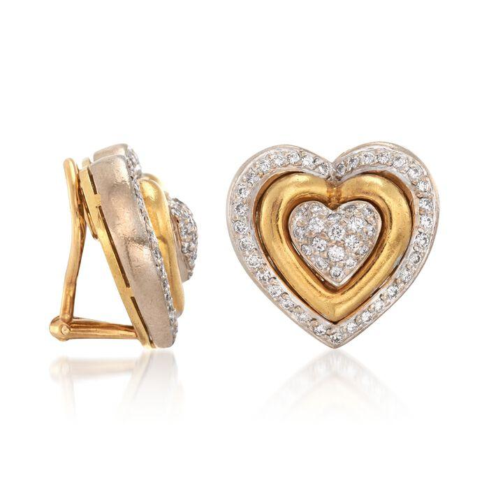 C. 1990 Vintage 1.50 ct. t.w. Diamond Heart Clip-On Earrings in 18kt Yellow Gold