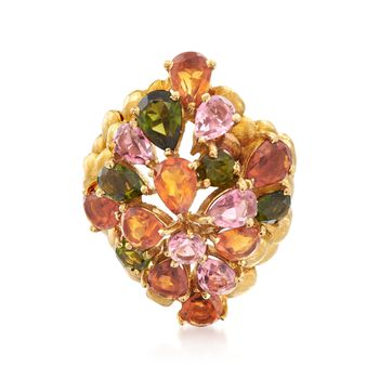 C. 1980 Vintage 3.45 ct. t.w. Multicolored Tourmaline and 3.20 ct. t.w. Cittrine Ring in 18kt Yellow Gold. Size 7, , default