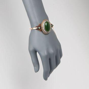 "C. 1900 Vintage Green Jadeite Jade and 5.30 ct. t.w. Multi-Stone Bracelet in 14kt Yellow Gold. 7.5"", , default"