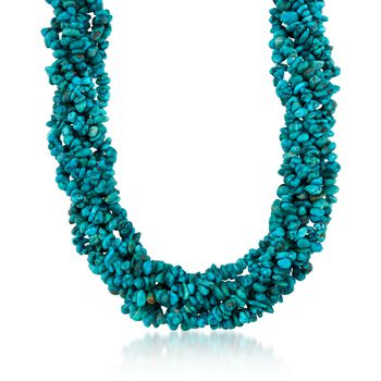 "Turquoise Torsade Necklace in Sterling Silver. 17"", , default"