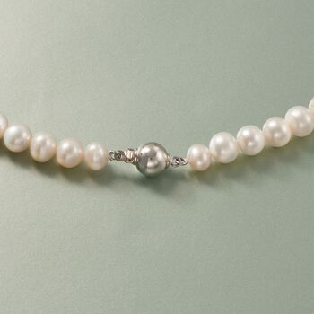 6-7.5mm Cultured Pearl and 1.60 ct. t.w. Multi-Stone Double Panther Head Necklace in Sterling