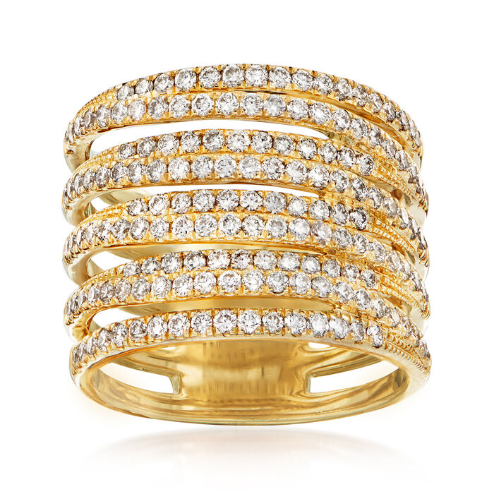 1.50 ct. t.w. Diamond Multi-Row Ring in 14kt Yellow Gold