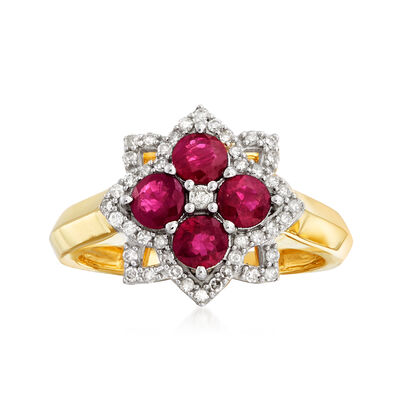 1.00 ct. t.w. Ruby and .24 ct. t.w. Diamond Floral Ring in 14kt Yellow Gold