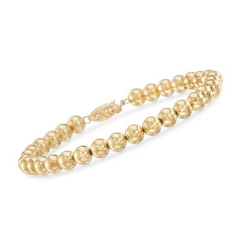 "6mm 14kt Yellow Gold Bead Bracelet. 7.5"", , default"