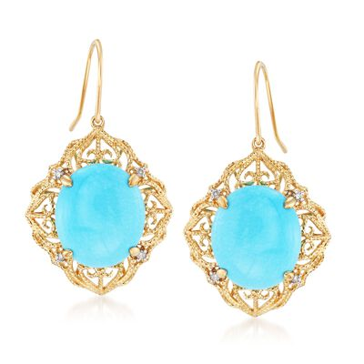 Sleeping Beauty Turquoise Filigree Drop Earrings With Diamond Accents in 14kt Yellow Gold, , default