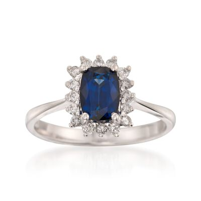 1.40 Carat Sapphire and .20 ct. t.w. Diamond Ring in 14kt White Gold, , default