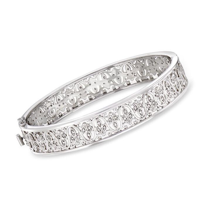 C. 2000 Vintage .75 ct. t.w. Diamond Filigree Bangle Bracelet in 14kt White Gold