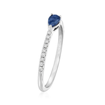 .30 Carat Sapphire and .10 ct. t.w. Diamond Ring in 14kt White Gold