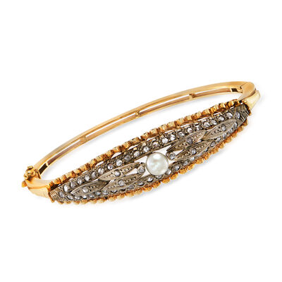 C. 1930 Vintage 5.5mm Cultured Pearl and 1.10 ct. t.w. Diamond Bangle Bracelet in 15kt Two-Tone Gold