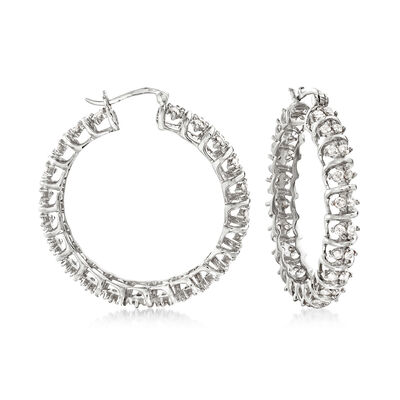 3.00 ct. t.w. Diamond Spiral Hoop Earrings in Sterling Silver