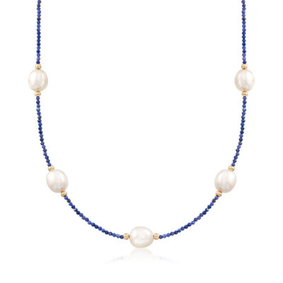Lapis and 10-10.5mm Cultured Pearl Bead Necklace in 14kt Yellow Gold