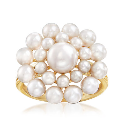 2-7mm Cultured Pearl Flower Burst Ring in 14kt Yellow Gold, , default