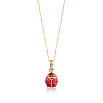 """Child's Red Enamel Ladybug Pendant Necklace in 14kt Yellow Gold. 15"""", , default"""