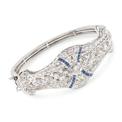 C. 1960 Vintage 2.80 ct. t.w. Diamond and .60 ct. t.w. Simulated Sapphire Bracelet in Platinum and 14kt White Gold