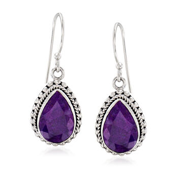 """26.60 ct. t.w. Purple Sapphire Jewelry Set: Earrings and Pendant Necklace in Sterling Silver. 18"""", , default"""