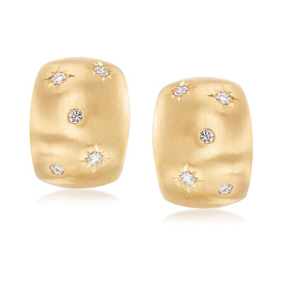 14kt Yellow Gold Earrings With Star Diamond Accents, , default
