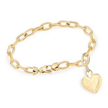 "14kt Yellow Gold Heart Charm Link Bracelet. 7.5"", , default"