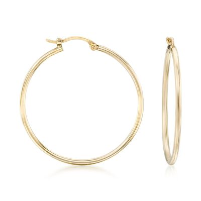 1.5mm 14kt Yellow Gold Large Hoop Earrings, , default