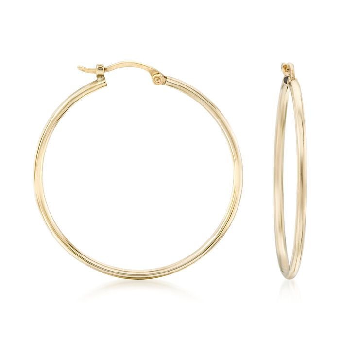 "1.5mm 14kt Yellow Gold Large Hoop Earrings. 1 1/8"", , default"