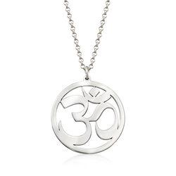 Sterling Silver Om Symbol Pendant Necklace, , default