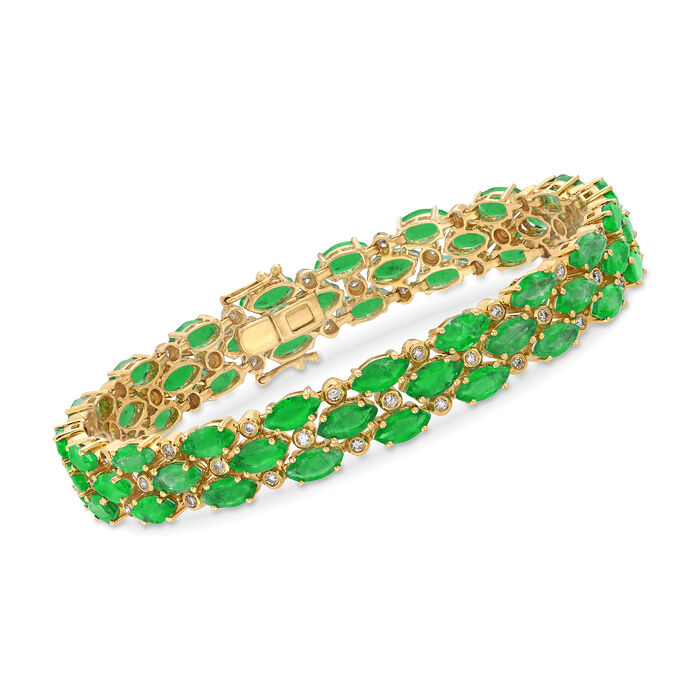 19.00 ct. t.w. Emerald and .80 ct. t.w. Diamond Three-Row Bracelet in 18kt Yellow Gold. 7.25""