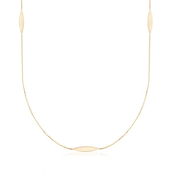 "14kt Yellow Gold Marquise Station Necklace. 36"", , default"