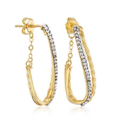 Italian Swarovski Crystal Two-Row Earrings in 14kt Yellow Gold, , default