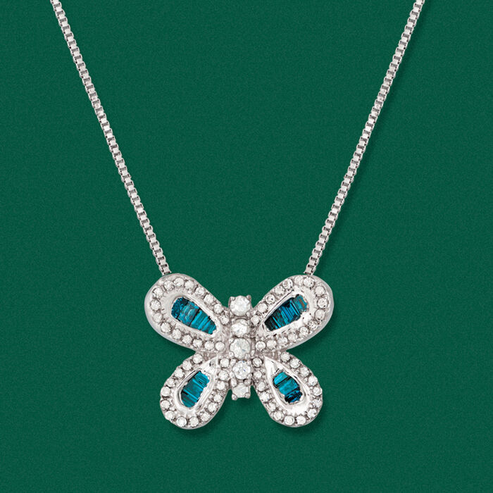 .50 ct. t.w. Blue and White Diamond Butterfly Necklace in Sterling Silver