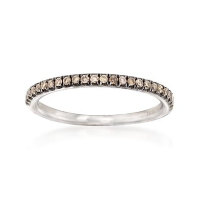 Henri Daussi .15 ct. t.w. Brown Diamond Wedding Ring in 14kt White Gold, , default