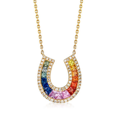 1.20 ct. t.w. Multicolored Sapphire and .23 ct. t.w. Diamond Horseshoe Necklace in 14kt Yellow Gold