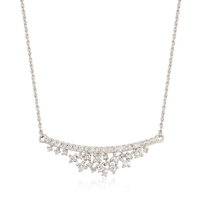 .70 ct. t.w. Diamond Cluster Curved Bar Necklace in 14kt White Gold, , default