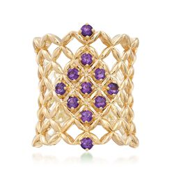 .50 ct. t.w. Amethyst Latticework Ring in 18kt Gold Over Sterling, , default