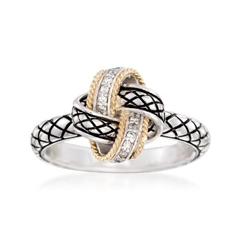 "Andrea Candela ""Nudo De Amor"" Love Knot Ring With Diamond Accents in Sterling Silver and 18kt Gold. Size 7, , default"