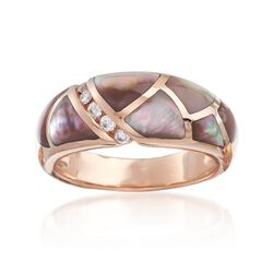 C. 1990 Vintage Mother-Of-Pearl and .12 ct. t.w. Diamond Ring in 14kt Rose Gold. Size 7.5, , default
