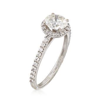 C. 2000 Vintage 1.37 Diamond Halo 14kt White Gold Engagement Ring. Size 6.75