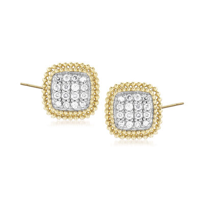 .25 ct. t.w. Diamond Beaded Frame Earrings in 14kt Yellow Gold