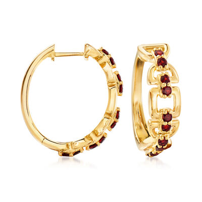 .80 ct. t.w. Garnet Hoop Earrings in 18kt Gold Over Sterling