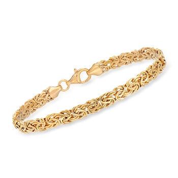 "14kt Yellow Gold Byzantine Bracelet. 7"", , default"