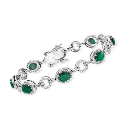 16.00 ct. t.w. Green Corundum Bracelet and .21 ct. t.w. Diamond Bracelet in Sterling Silver