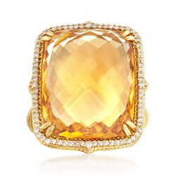 "Judith Ripka ""Lila"" 18.00 Carat Citrine and .23 ct. t.w. Diamond Ring in 18kt Yellow Gold, , default"