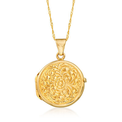 Italian 14kt Yellow Gold Round Scrollwork Locket Pendant Necklace, , default